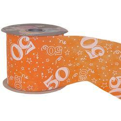 50-es Narancssárga Szülinapi Dekorációs Szalag (12,5 cm x 50 m)