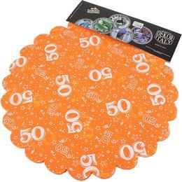 50-es Narancssárga Szülinapi Kerek Dekorációs Textil - 48 cm, 24 db-os