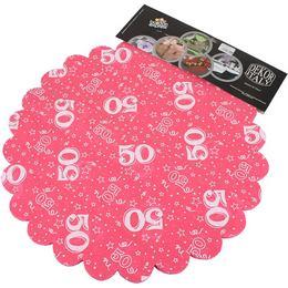 50-es Pink Szülinapi Kerek Dekorációs Textil - 48 cm, 24 db-os