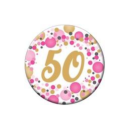 50-es Rózsaszín Pasztell Konfettis Szülinapi Számos Parti Kitűző - 5,5 cm