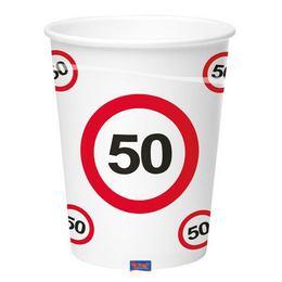 50-es Sebességkorlátozó Számos Szülinapi Papír Parti Pohár - 350 ml, 8 db-os