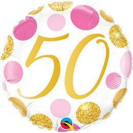 18 inch-es 50-es Pink & Gold Dots Szülinapi Számos Fólia Lufi