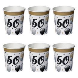 50-es Számos Szülinapi Elegáns Léggömbös Parti Papír Pohár - 250 ml, 6 db-os