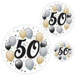 50-es Számos Szülinapi Elegáns Matrica Csomag - 8 db-os