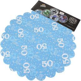 50-es Világoskék Szülinapi Kerek Dekorációs Textil - 48 cm, 24 db-os