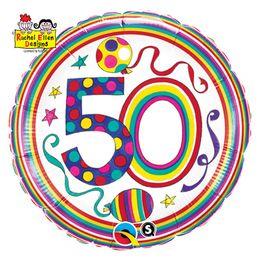 18 inch-es 50-es Számos Polka Dots and Stripes Szülinapi Fólia Lufi