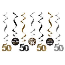 50-es Számos Szülinapi Spirális Függő Dekoráció