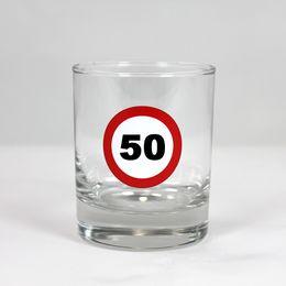 50-es Számos Sebességkorlátozó Szülinapi Whiskey-s Üvegpohár