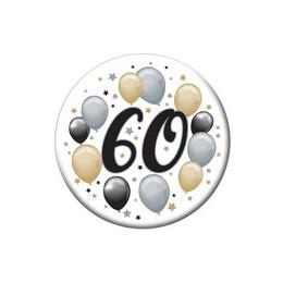 60-as Elegáns Léggömbös Szülinapi Számos Parti Kitűző - 5,5 cm