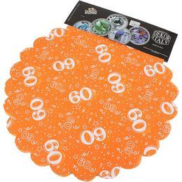 60-as Narancssárga Szülinapi Kerek Dekorációs Textil - 48 cm, 24 db-os