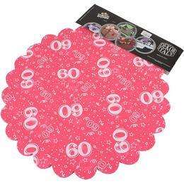 60-as Pink Szülinapi Kerek Dekorációs Textil - 48 cm, 24 db-os