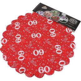 60-as Piros Szülinapi Kerek Dekorációs Textil - 48 cm, 24 db-os