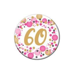 60-as Rózsaszín Pasztell Konfettis Szülinapi Számos Parti Kitűző - 5,5 cm