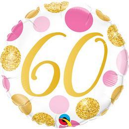 18 inch-es 60-as Pink & Gold Dots Szülinapi Számos Fólia Lufi