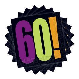 60-as Birthday Cheer Szülinapi Parti Szalvéta - 33 cm x 33 cm, 16 db-os