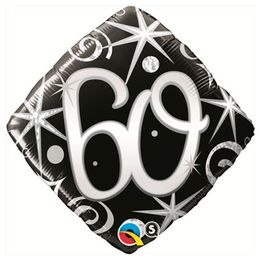 18 inch-es 60-as Elegant Sparkles and Swirls Szülinapi Számos Fólia Lufi