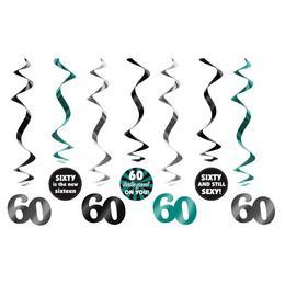60-as Számos Szülinapi Spirális Függő Dekoráció