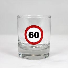 60-as Számos Sebességkorlátozó Szülinapi Whiskey-s Üvegpohár