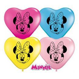 6 inch-es Minnie Egér Arc - Minnie Mouse Face Special Assortment Szív Lufi (100 db/cs