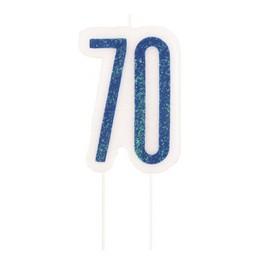 70-es Csillámos Kék Szülinapi Parti Számgyertya