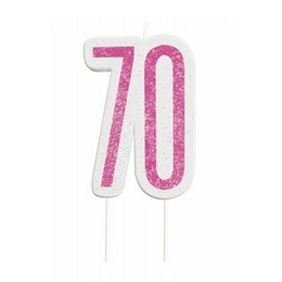 70-es Csillámos Pink Szülinapi Parti Számgyertya