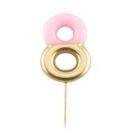 8-as Fényes Pink Arany Szülinapi Számgyertya