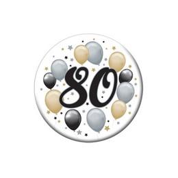 80-as Elegáns Léggömbös Szülinapi Számos Parti Kitűző - 5,5 cm