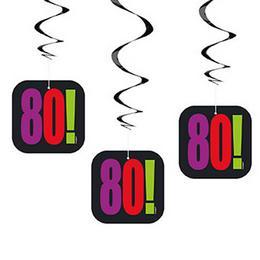 80-as Birthday Cheer Szülinapi Parti Spirális Függő Dekoráció, 3 db-os