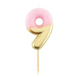 9-es Fényes Pink Arany Szülinapi Számgyertya