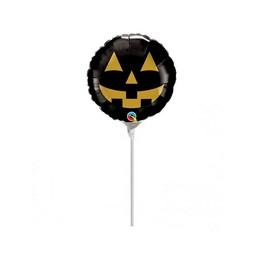 9 inch-es Fekete Arany Tök - Jack Face Black and Gold Halloween Fólia Lufi (5 db/csom