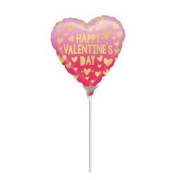 9 inch-es Happy Valentine's Day Pink és Arany Szív Mintás Mini Shape Fólia Lufi (5 db