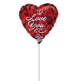 9 inch-es I Love You Roses Szerelmes Mini Shape Fólia Lufi (5 db/csomag)