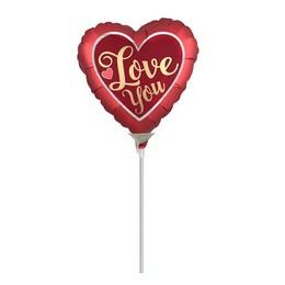 9 inch-es Love You Piros Ezüst Mini Shape Fólia Lufi Valentin-napra (5 db/csomag)