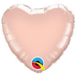9 inch-es Rózsaarany - Rose Gold Szív Fólia Lufi (5 db/csomag)
