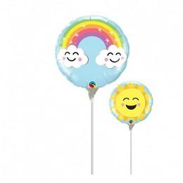 9 inch-es Szivárvány Mintás - Sunshine Rainbow Fólia Lufi (5 db/csomag)