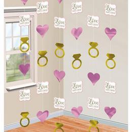Szíves és Gyűrűk Esküvői Függő Dekoráció - 2 méter, 6 db-os