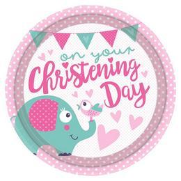 Christening Rózsaszín - Keresztelőre Elefánt Mintás Parti Tányér - 23 cm, 8 db-os