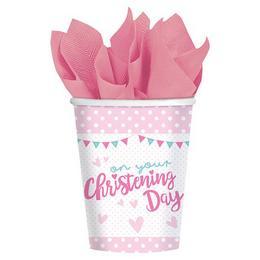 Christening Rózsaszín - Keresztelőre Elefánt Mintás Parti Pohár - 266 ml, 8 db-os