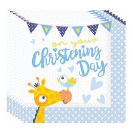Christening Blue  - Keresztelőre Zsiráf Mintás Parti Szalvéta - 16 db-