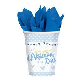 Christening Kék - Keresztelőre Zsiráf Mintás Parti Pohár - 266 ml, 8 db-os