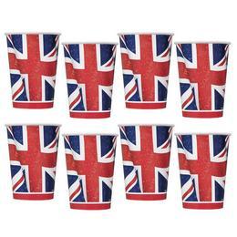 Angol Zászló Mintás Parti Pohár - 270 ml, 8 db-os