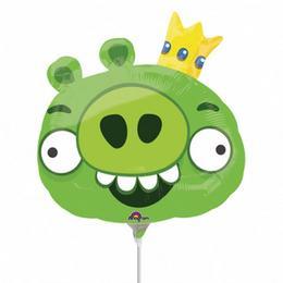 Angry Birds - King Pin - Zöld Király Malac Mini Shape Fólia Lufi (5 db/csomag)