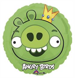 18 inch-es Angry Birds - Zöld Király Malac - Fólia Lufi