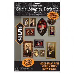 Antik Horror Portrék Faldíszlet - 165 cm x 85 cm, 2 db-os