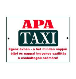 Vicces Rendszámtábla - Apa Taxi felirattal