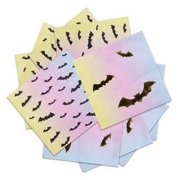 Arany Fekete Denevér Mintás Pasztel Színű Szalvéta Halloween-re, 33 cm x 33 cm, 16 db