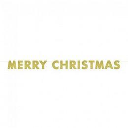 Arany Glitteres Merry Christmas Feliratú Füzér - 2,74 m