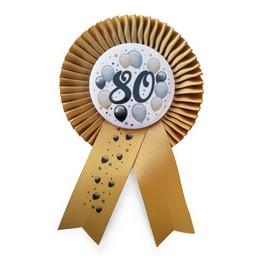Arany Szalagos 80-as Elegáns Léggömbös Szülinapi Számos Parti Kitűző
