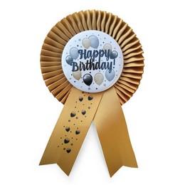 Arany Szalagos Happy Birthday! Elegáns Léggömbös Parti Kitűző