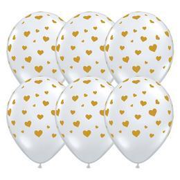 11 inch-es Random Hearts-a-Rnd DMC Gold Lufi (25 db/csomag)